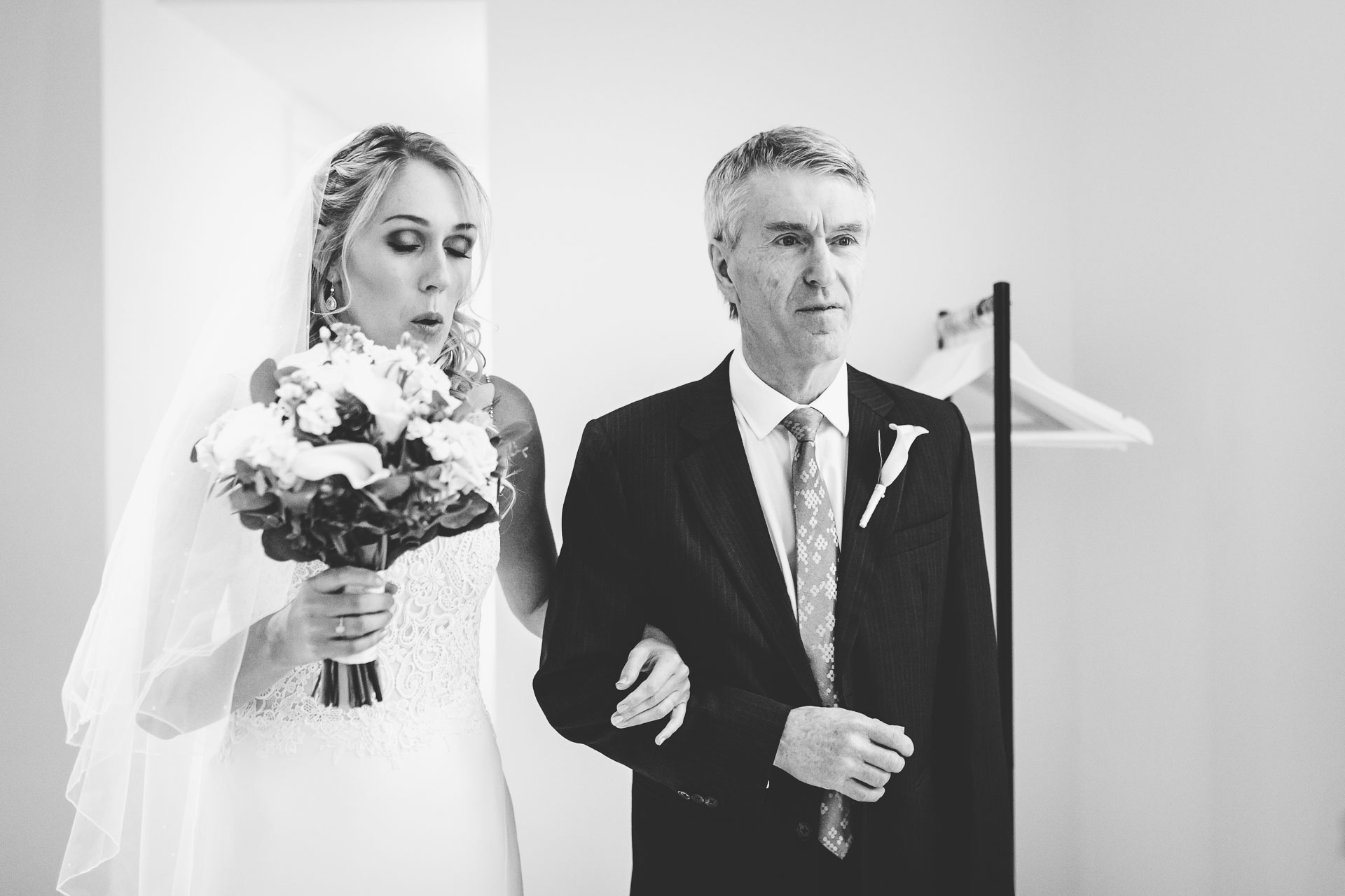 bride and her dad entering the room in salcombve harbour hotel wedding