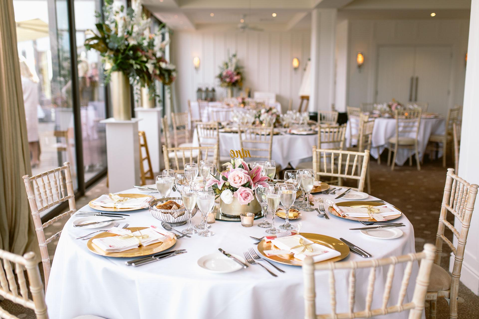 view of the wedding room in salcombe harbour hotel wedding