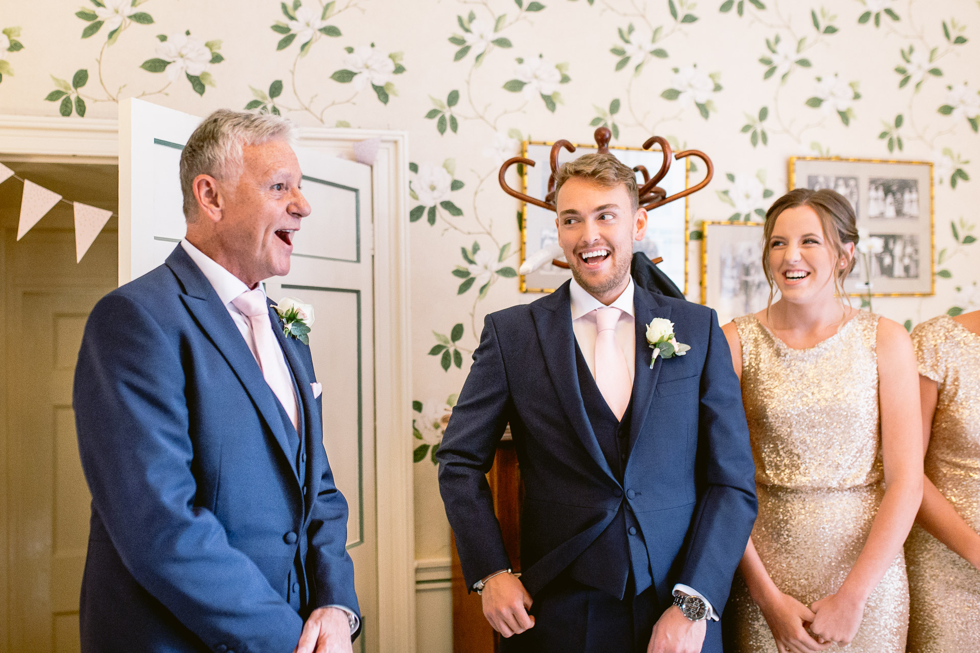 brides dad seeing his daughter for the first time in Fonmon Castle