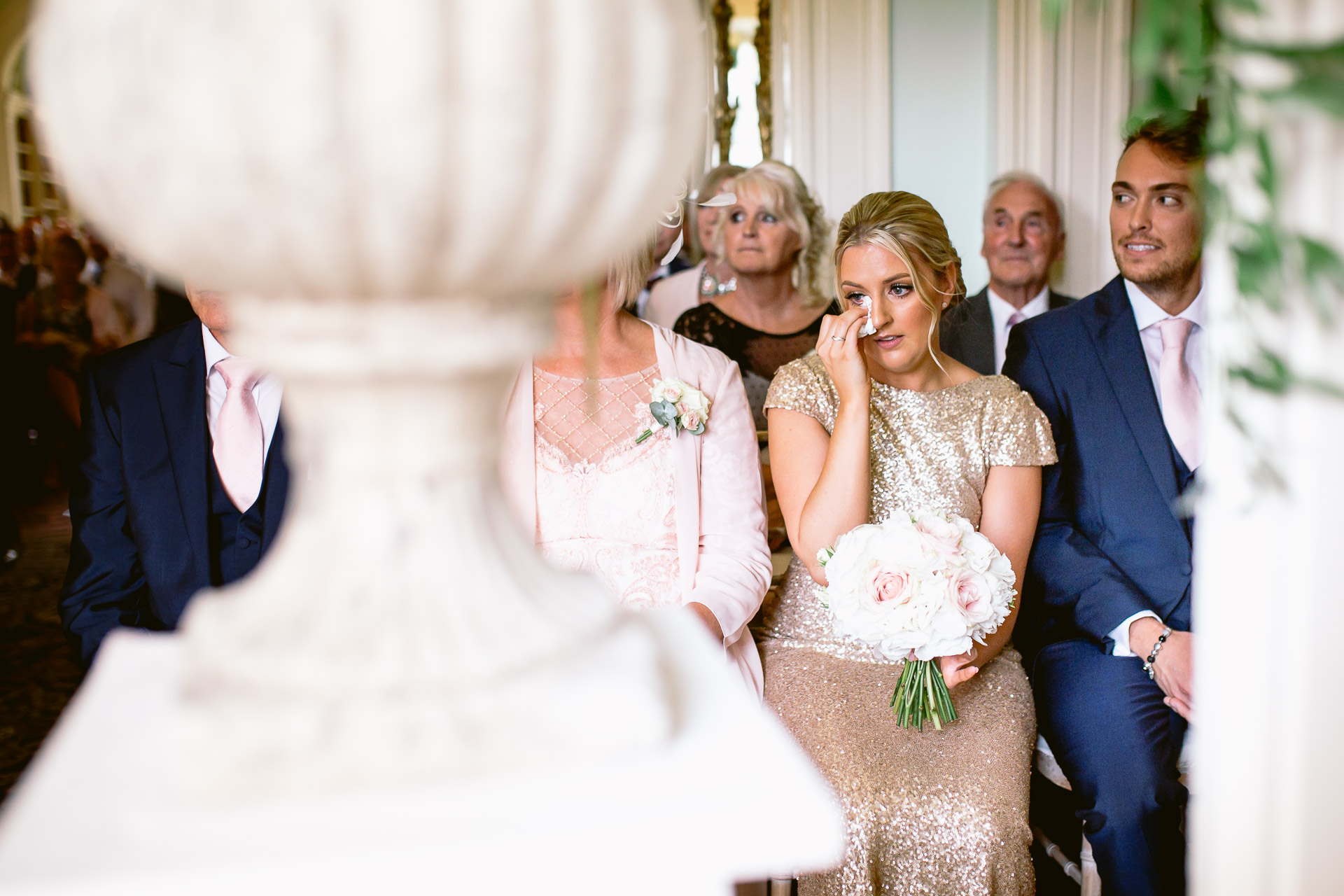 bridesmaids crying during the ceremony at Fonmon Castle