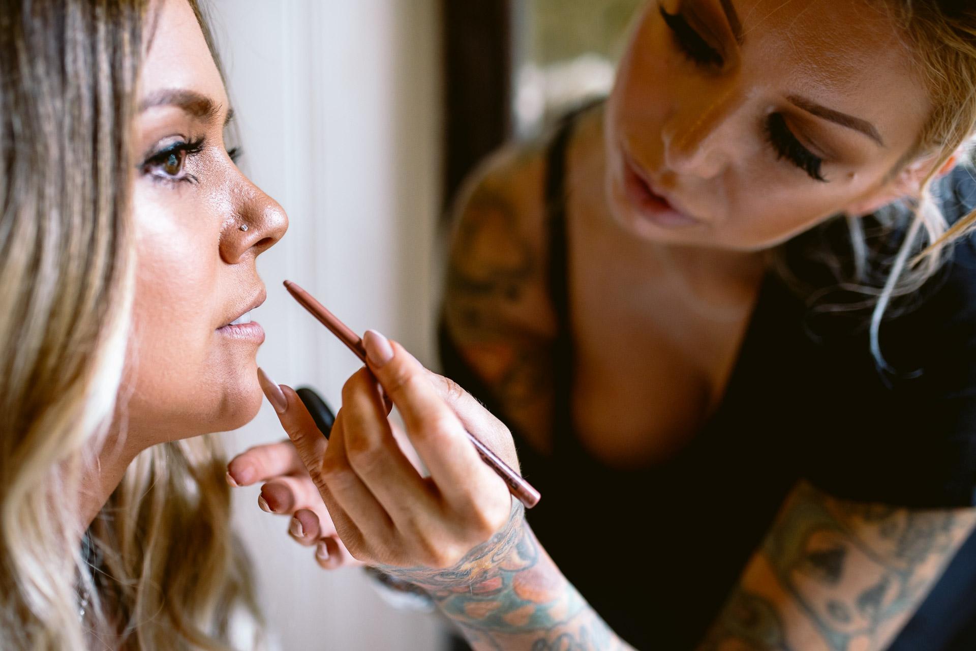 bride having her makeup done at Fonmon Castle