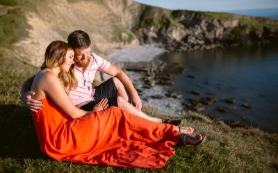 Romantic Beach Sunset Engagement Session in Ogmore, Wales – Kelly and Jordan