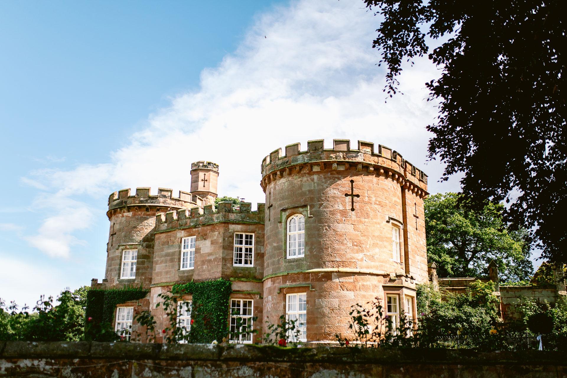 The Citadel wedding Shropshire Sarah-Jane and Steve wedding venue the citadel with a beautiful blue sky