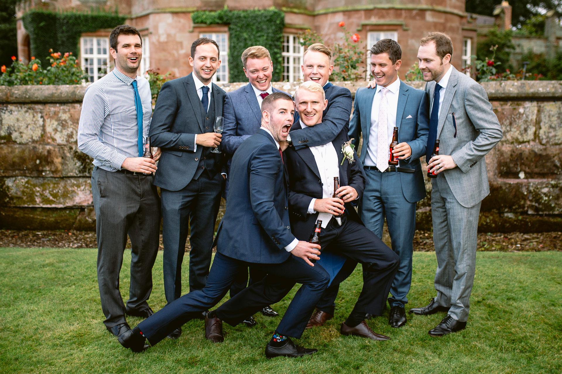 The Citadel wedding Shropshire Sarah-Jane and Steve groomsmen posing in the group for photo