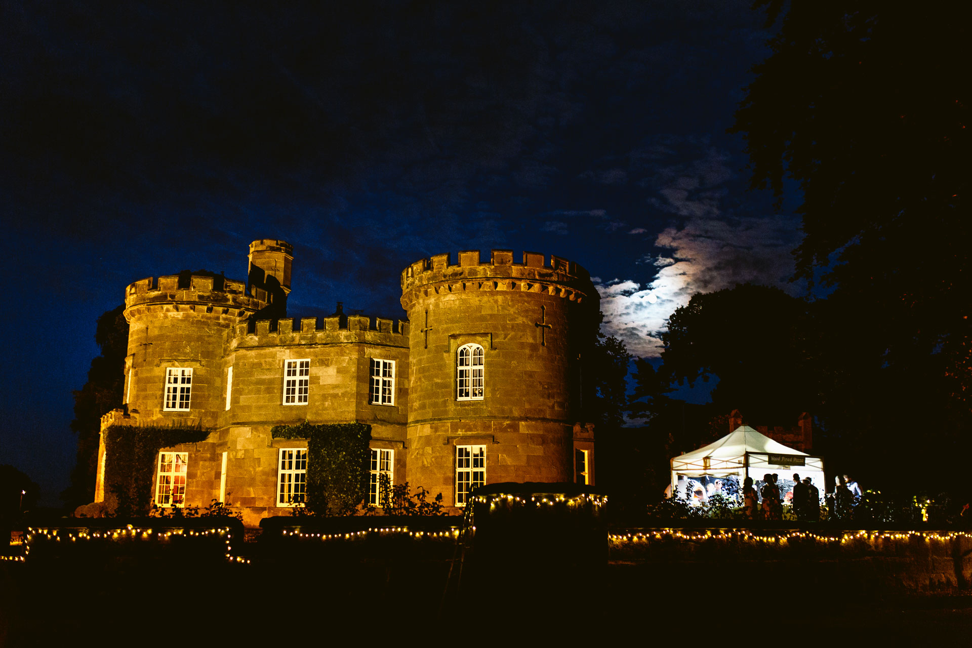 The Citadel wedding Shropshire Sarah_Jane and Steve view of the wedding venue in the night